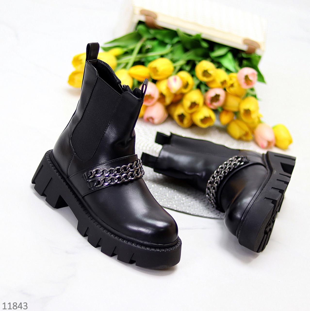 Высокие черные женские зимние ботинки челси на молнии с декором цепь