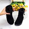 Натуральная замша черные женские низкие замшевые угги на молнии, фото 6