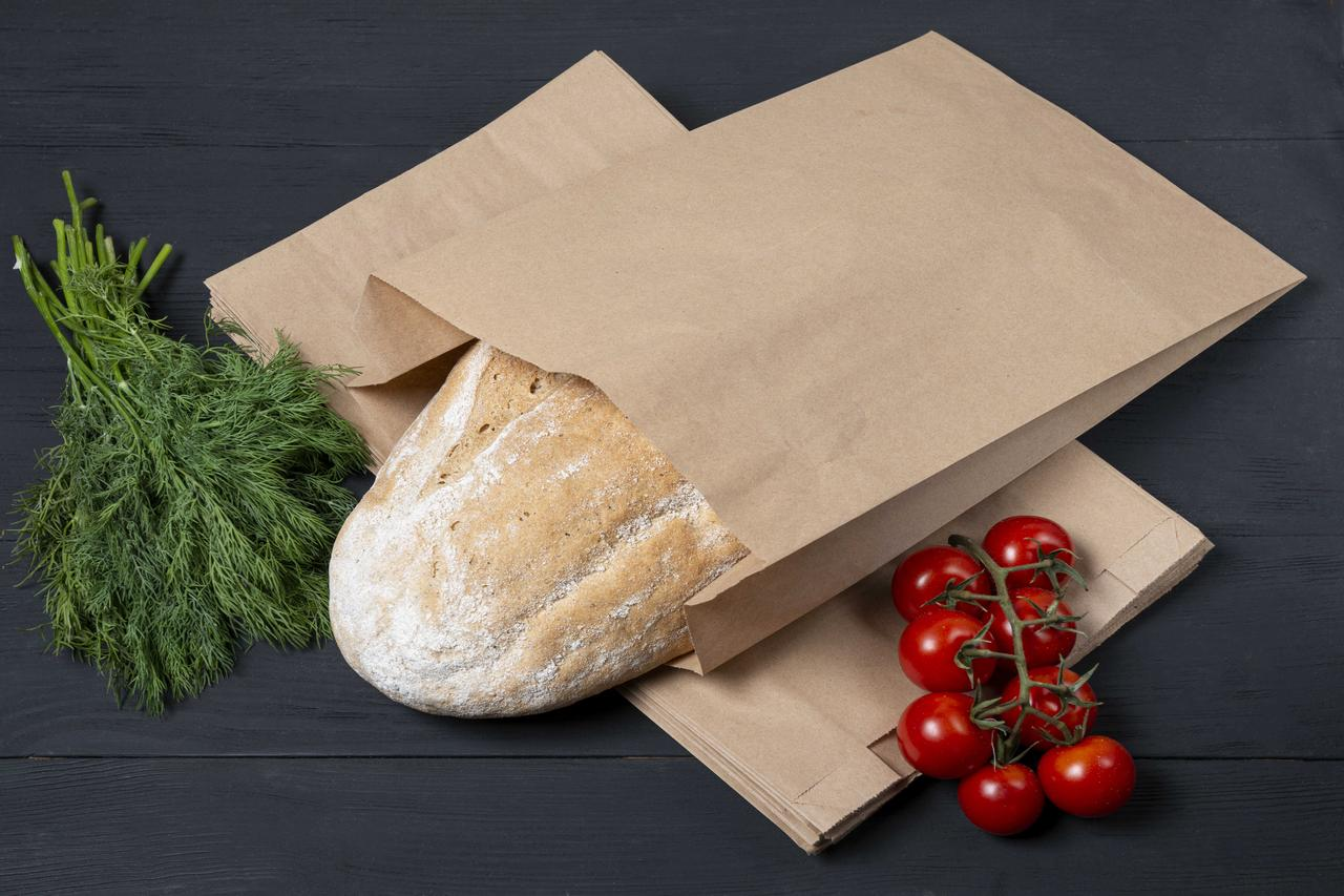 Бумажные крафт пакеты для хлеба, мяса, овощей 220*80*380 мм, упаковка 1000 шт