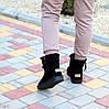 Натуральна замша чорні жіночі низькі замшеві уггі на блискавці, фото 9
