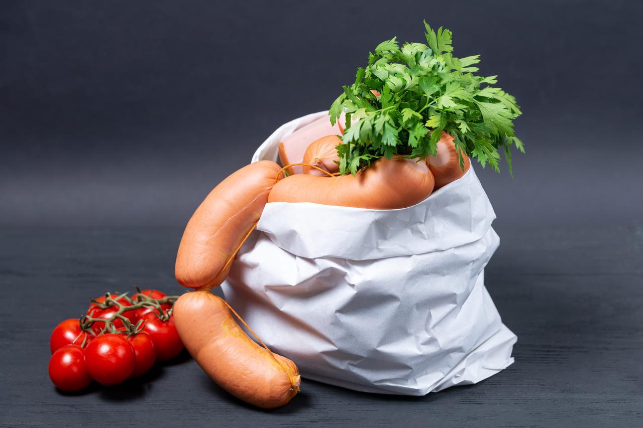Паперові пакети для упаковки ковбаси 220*80*380 мм крафт пакети для їжі