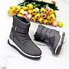 Спортивні сірі графітові молодіжні жіночі чоботи дутики на хутрі, фото 8