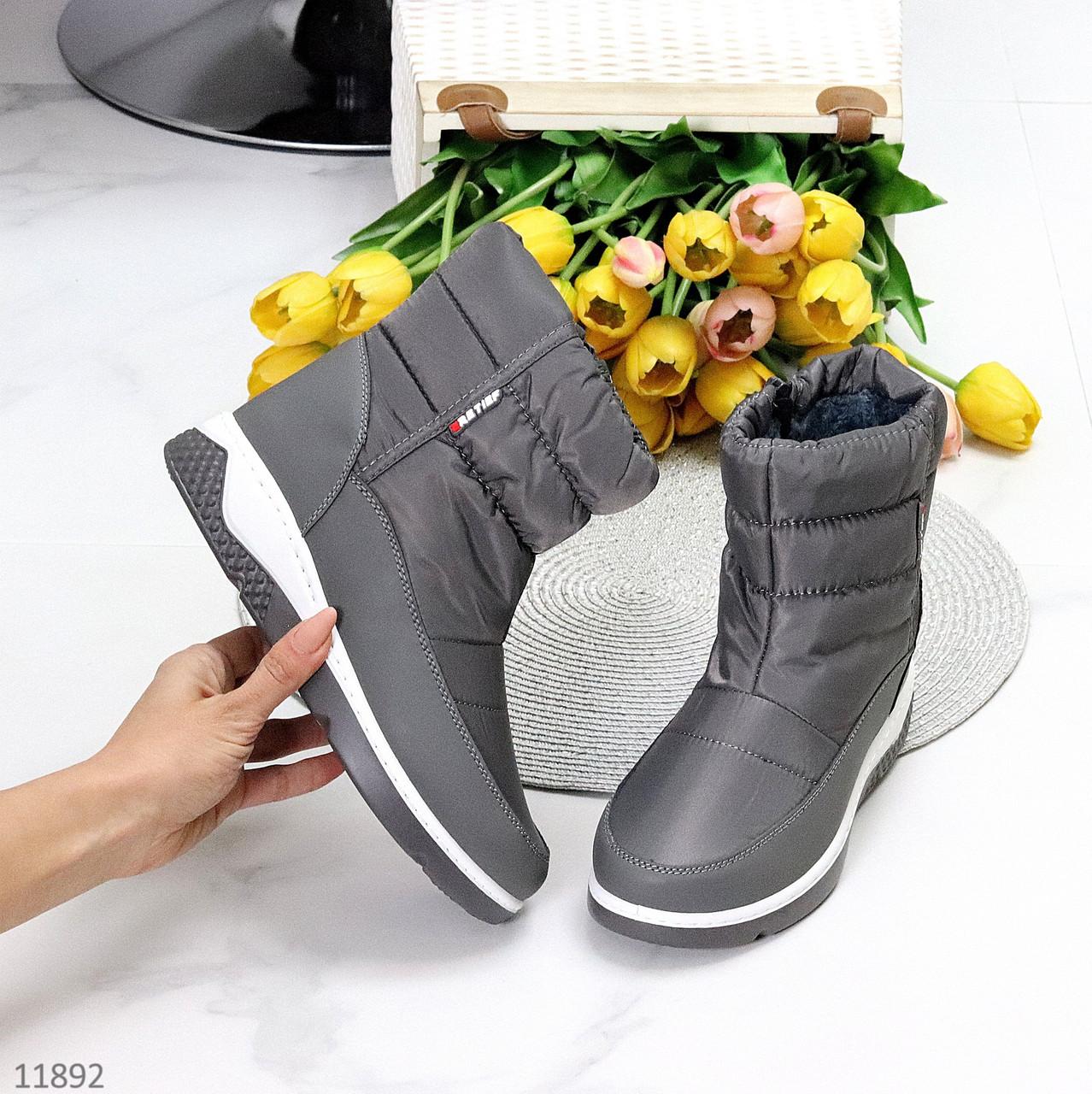 Спортивні сірі графітові молодіжні жіночі чоботи дутики на хутрі