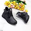 Модельні високі чорні жіночі кросівки на флісі на блискавці, фото 5