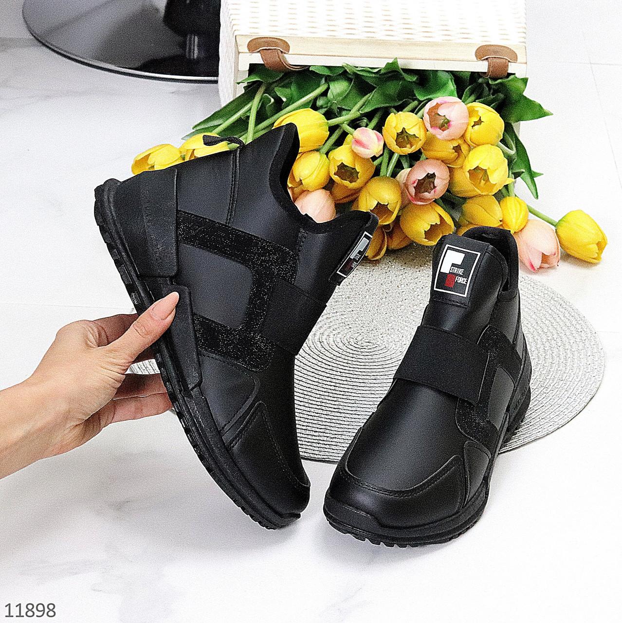 Модельные высокие черные женские кроссовки на флисе на молнии