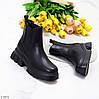 Люксові фактурні чорні жіночі черевики челсі з еластичними вставками, фото 5