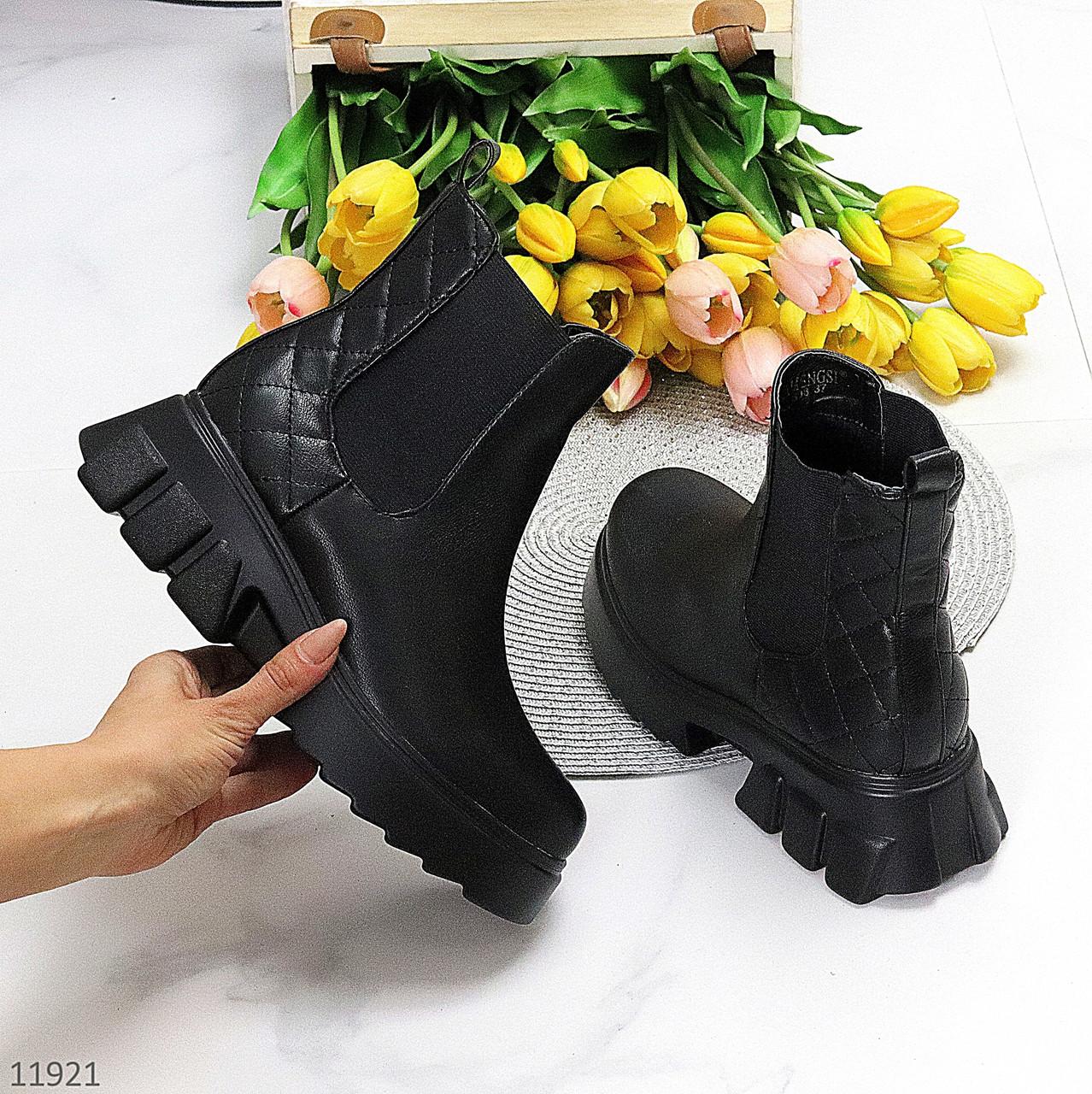 Люксові фактурні чорні жіночі черевики челсі з еластичними вставками