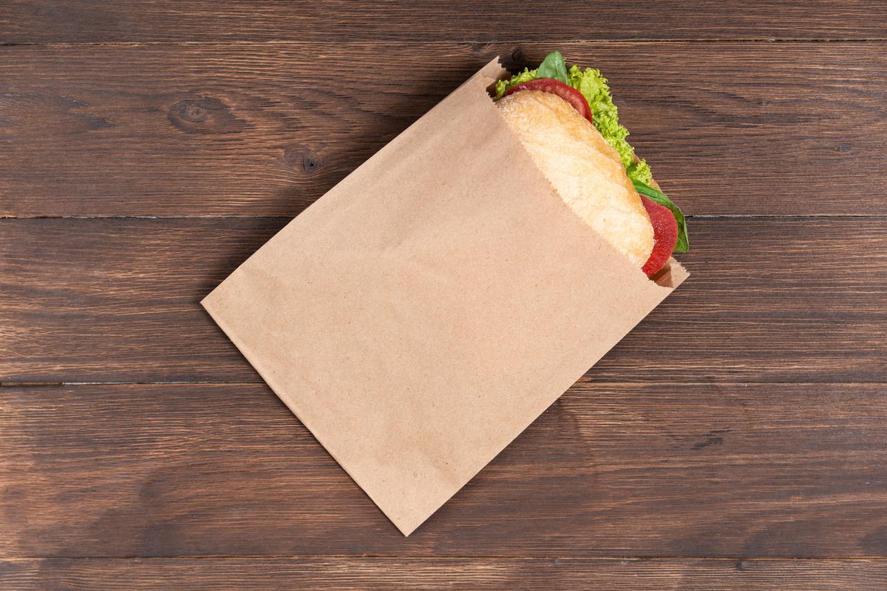 Паперові крафт пакети саше 170*30*230 мм. Крафт пакет бурий для бургерів