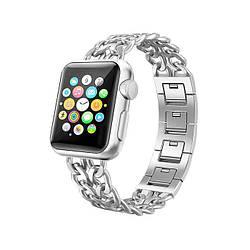 Ремешок для Apple Watch 38mm/40mm Stainless Steel Cowboy Chain Bracelet Silver