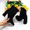 Изящные черные замшевые ботинки ботильоны на удобном высоком каблуке, фото 6