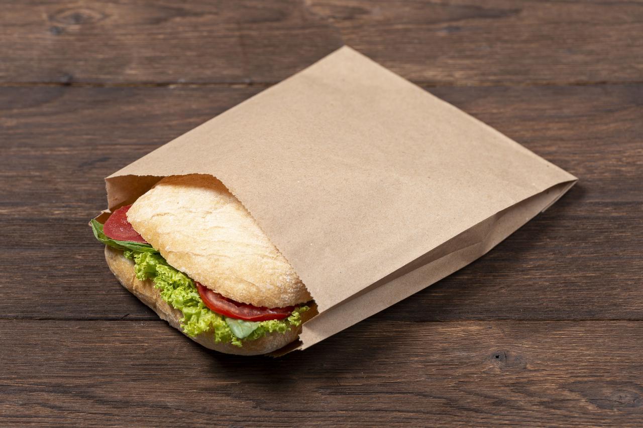 Бумажный пакет для бутербродов, сендвичей 220*60*230 мм, упаковка 1000 штук