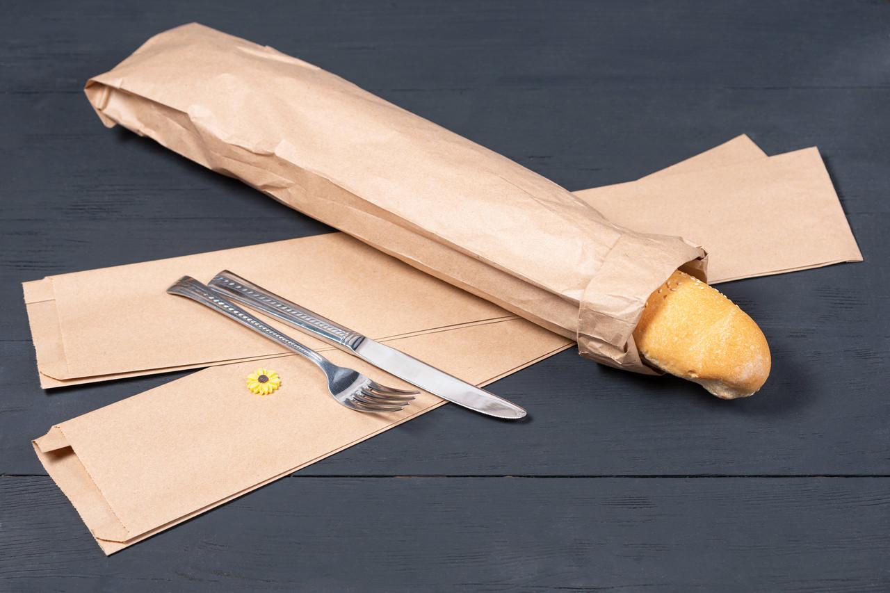 Пакет бумажный для багета 100*40*530 мм крафт бурый