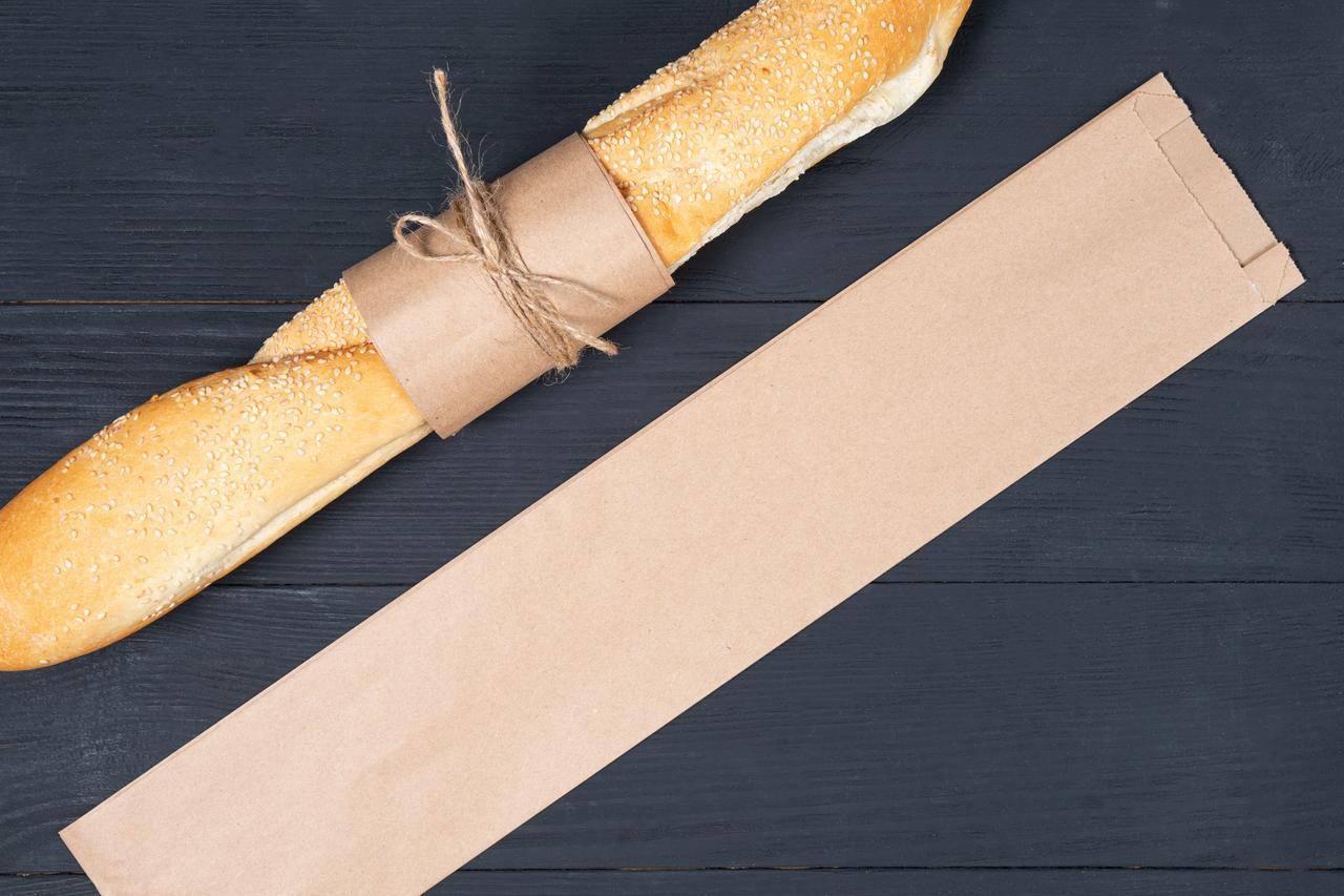 Крафт пакет бумажный под багет 100*40*530 мм бурый пакет саше, упаковка 1000 штук