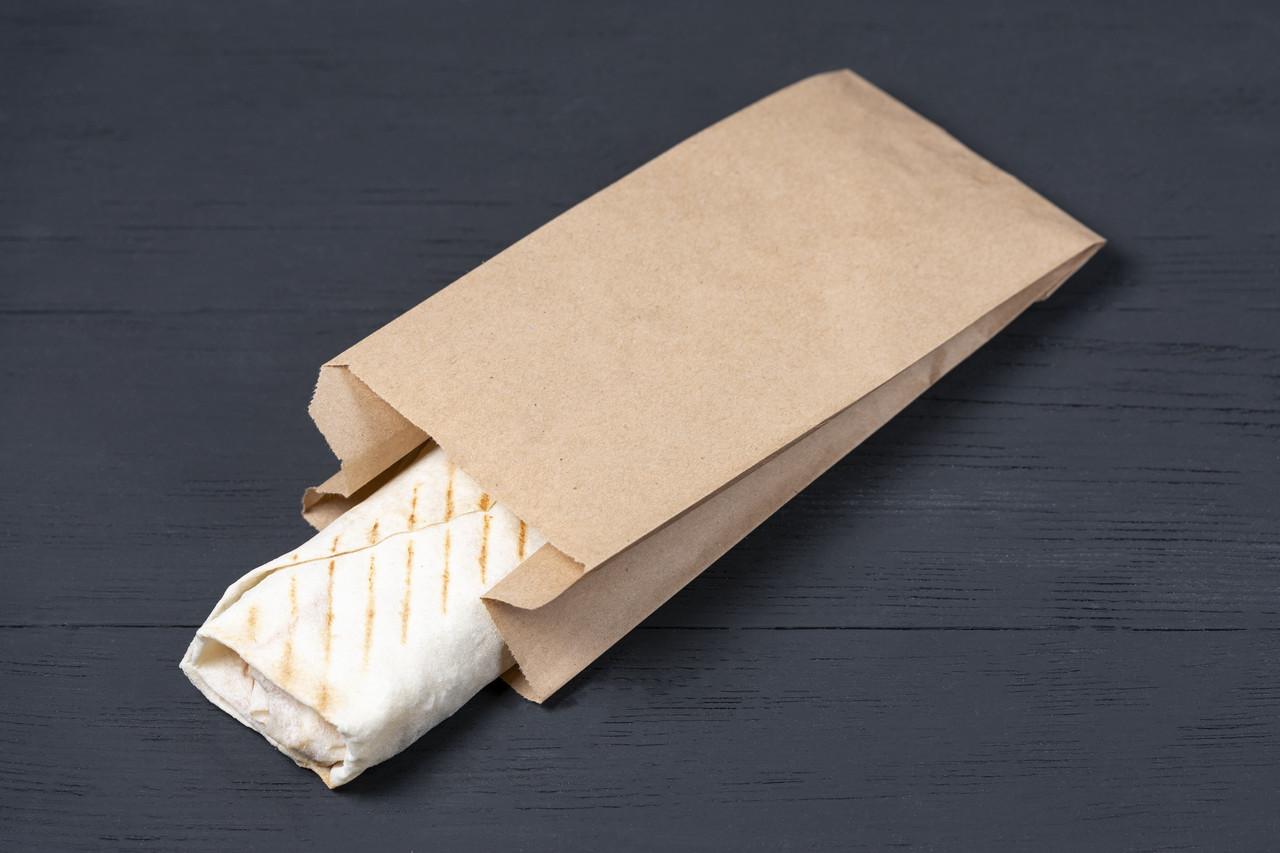Бумажный пакет для шаурмы 100*70*230 мм крафт пакет саше под выпечку