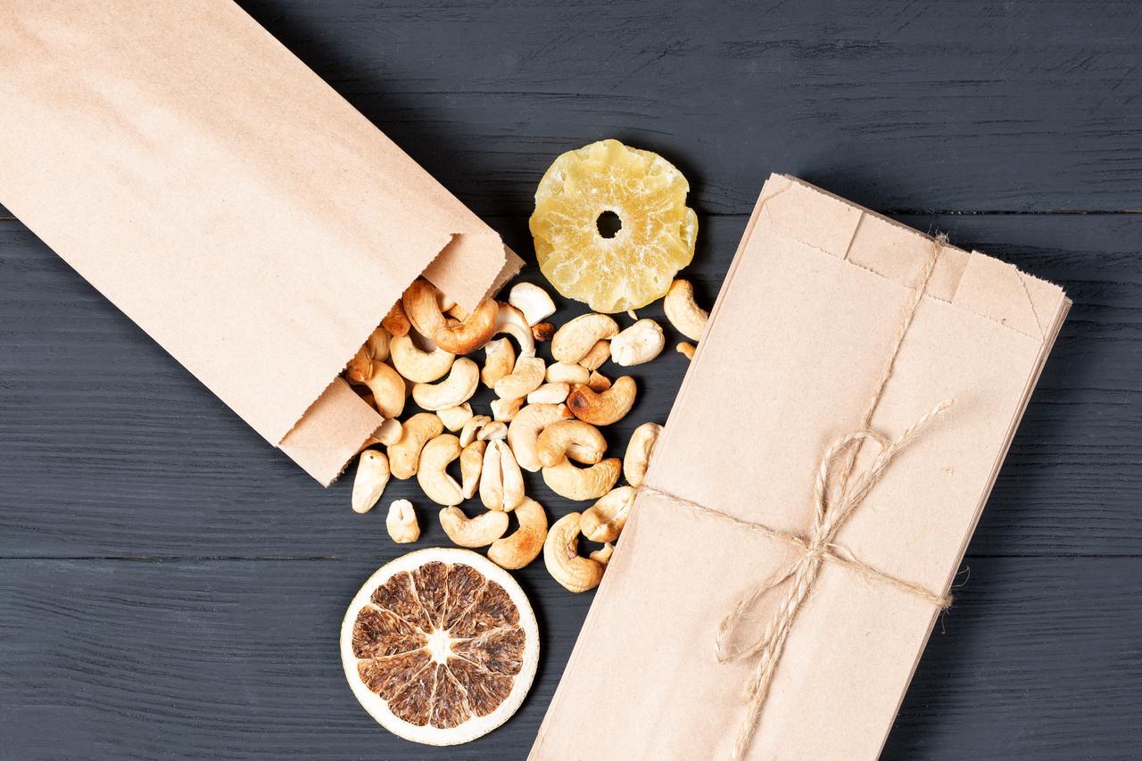 Крафт паперові пакети для сухофруктів, горіхів 100*70*230 мм пакет саше бурий