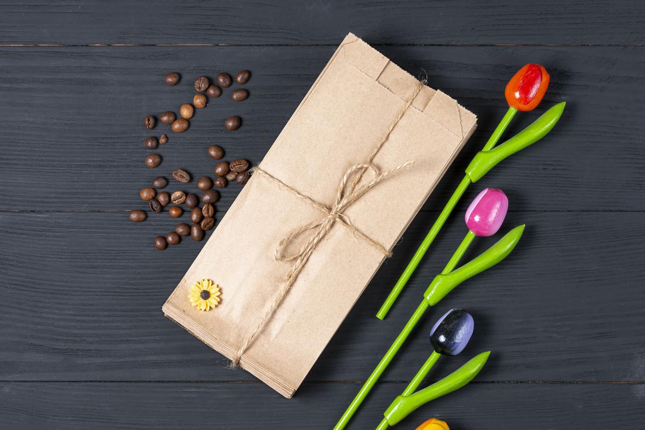 Бумажный пакет для чая кофе 100*70*230 мм крафт пакет для упаковки горячей выпечки, упаковка 1000 штук