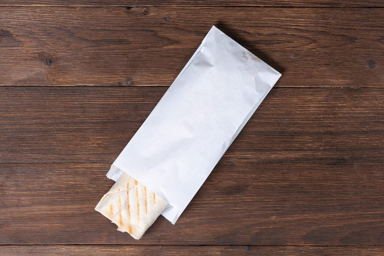 Пакет бумажный белый для шаурмы, выпечки 100*30*230 мм