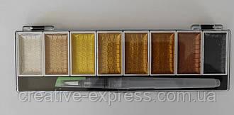 Набір акварелі МЕТАЛІК 8 кольорів з брашпеном, розмір 7см*23см*1,5 см