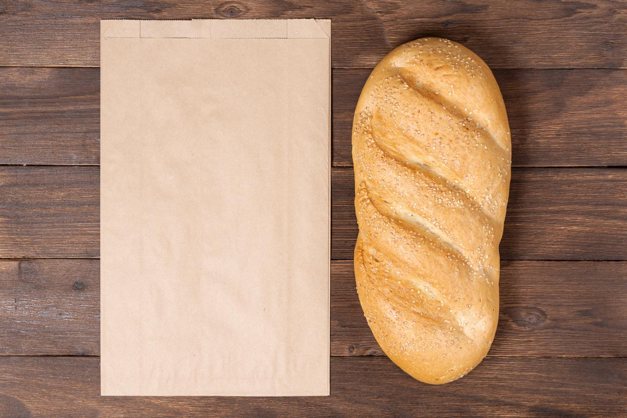 Паперовий пакет для упаковки хліба 220*60*340 мм крафт пакет бурий
