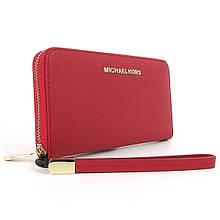 Гаманець шкіряний жіночий червоний з натуральної шкіри на блискавці брендовий портмоне гаманець червоного кольору