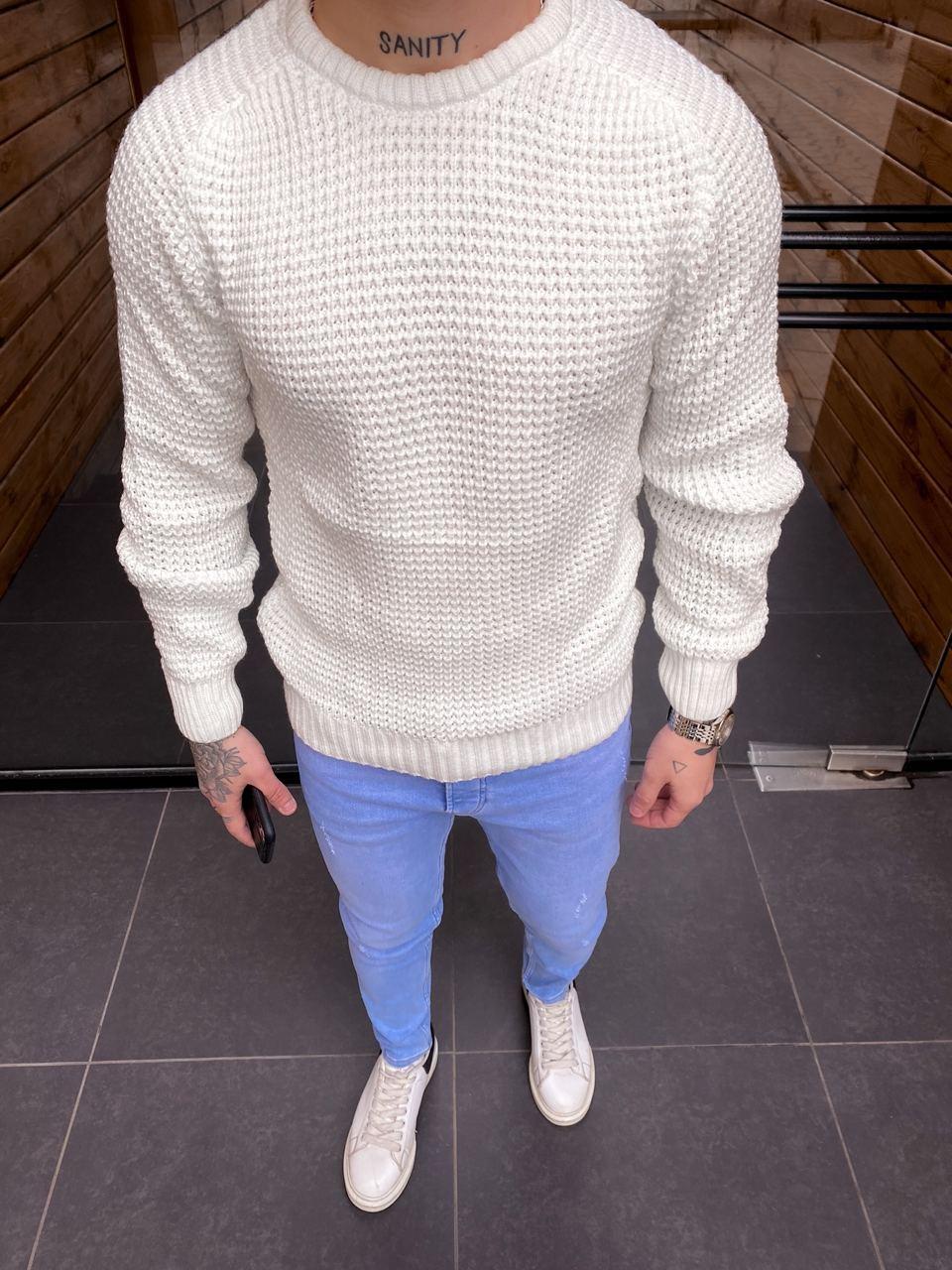 😜 Светр Чоловічий светр білий / чоловічий плотний светр білий вязаний