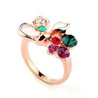 Кольцо ЦВЕТНОЕ ЛЕТО ювелирная бижутерия золото 18К декор кристаллы Swarovski