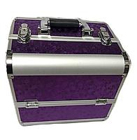 """Чемодан кейс алюминиевый для мастера маникюра, визажиста и парикмахера """"Фиолетовый блик"""" YRE"""