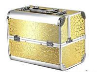 """Чемодан кейс алюминиевый для мастера маникюра, визажиста и парикмахера """"Золотые цветы"""" YRE"""