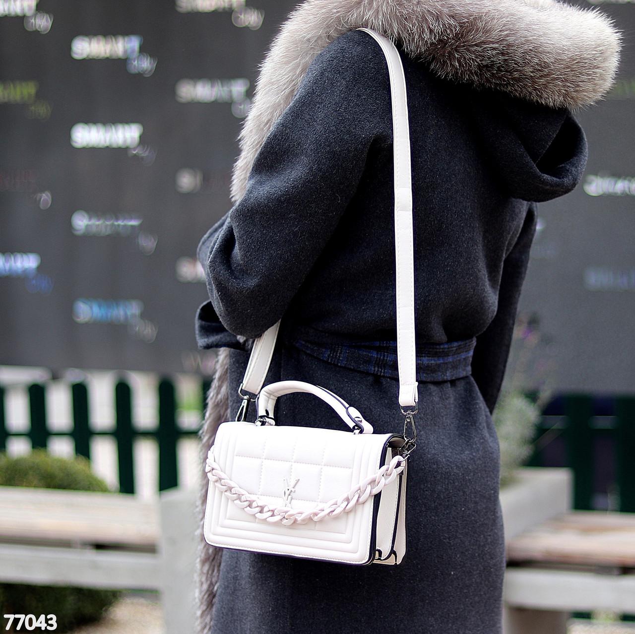 Брендовая городская женская белая мини сумка клатч с цепью кросс боди через плечо