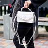 Брендовая городская женская белая мини сумка клатч с цепью кросс боди через плечо, фото 5