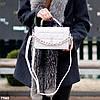 Брендовая городская женская белая мини сумка клатч с цепью кросс боди через плечо, фото 6