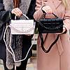 Брендовая городская женская белая мини сумка клатч с цепью кросс боди через плечо, фото 8