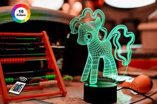 """3D ночник """"My Little Pony"""" (УВЕЛИЧЕННОЕ ИЗОБРАЖЕНИЕ) + пульт ДУ +сетевой адаптер +батарейки (3ААА)  3DTOYSLAMP"""