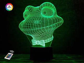 """3D ночник """"Лягушонок"""" (УВЕЛИЧЕННОЕ ИЗОБРАЖЕНИЕ) + пульт ДУ + сетевой адаптер + батарейки (3ААА)  3DTOYSLAMP"""