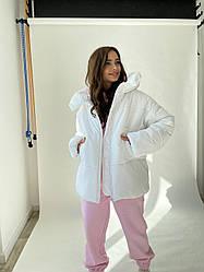 Актуальна зимова жіноча біла куртка оверсайз Овертайм 11921