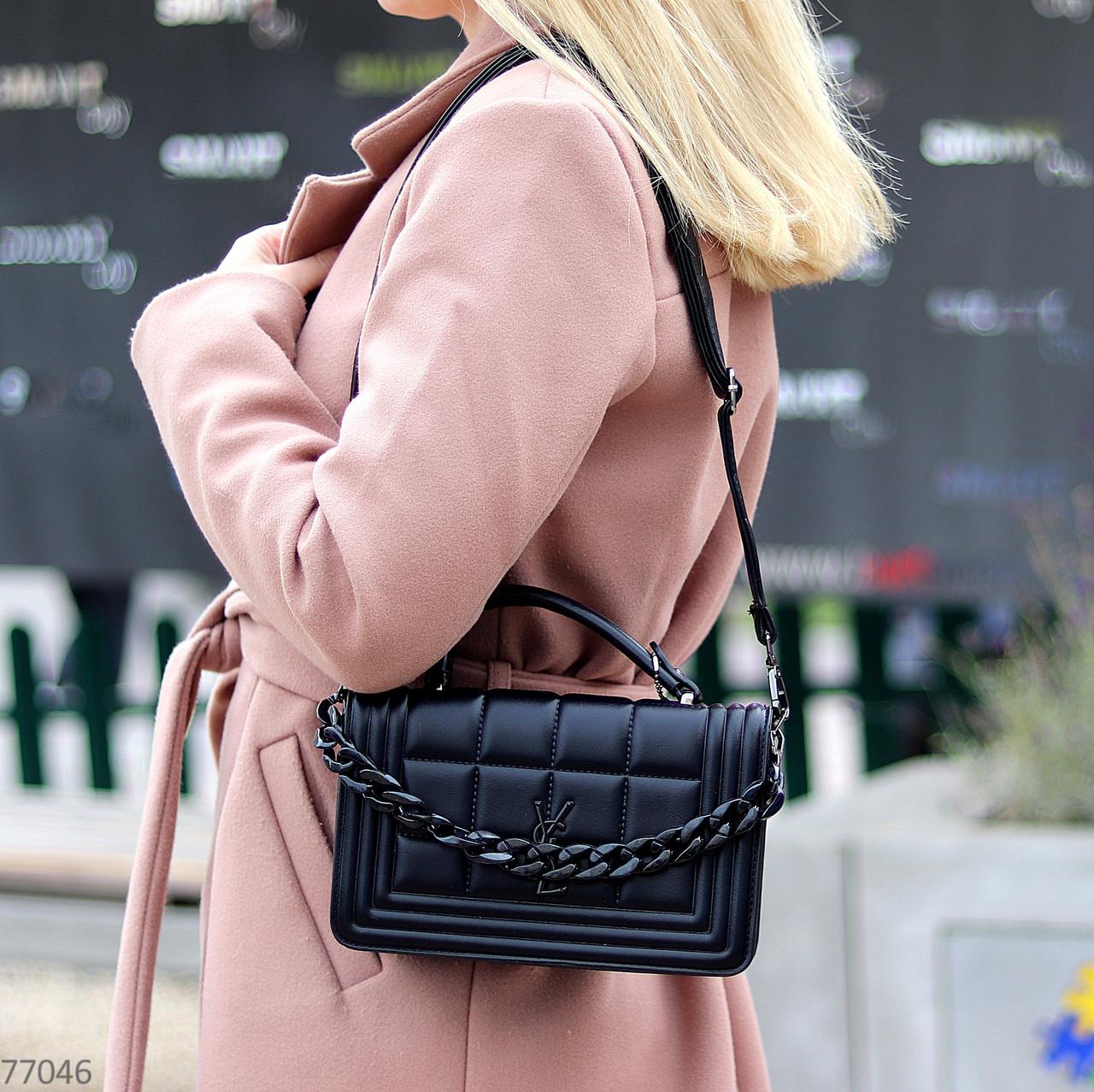 Брендовий міська жіноча чорна міні сумка клатч з ланцюгом крос боді через плече