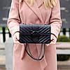 Стильна міська жіноча чорна міні сумка клатч ручки ланцюг крос боді через плече, фото 2