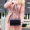 Стильна міська жіноча чорна міні сумка клатч ручки ланцюг крос боді через плече, фото 9