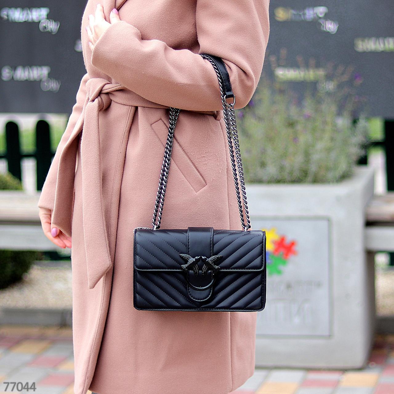 Стильна міська жіноча чорна міні сумка клатч ручки ланцюг крос боді через плече