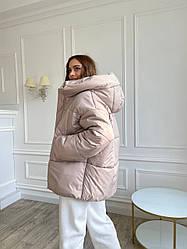 Об'ємна вільна коротка зимова куртка Овертайм 11921