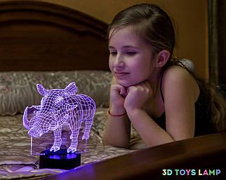 """3D ночник """"Пумба"""" (УВЕЛИЧЕННОЕ ИЗОБРАЖЕНИЕ) + пульт ДУ + сетевой адаптер + батарейки (3ААА)  3DTOYSLAMP"""