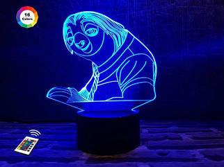 """3D ночник """"Ленивец"""" (УВЕЛИЧЕННОЕ ИЗОБРАЖЕНИЕ) + пульт ДУ + сетевой адаптер + батарейки (3ААА)  3DTOYSLAMP"""