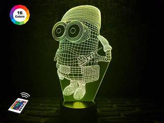 """3D ночник """"Миньон военный"""" (УВЕЛИЧЕННОЕ ИЗОБРАЖЕНИЕ) + пульт ДУ +сетевой адаптер +батарейки (3ААА)  3DTOYSLAMP"""