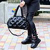 Легкая дутая женская черная текстильная тканевая сумка с ручками через плечо, фото 3