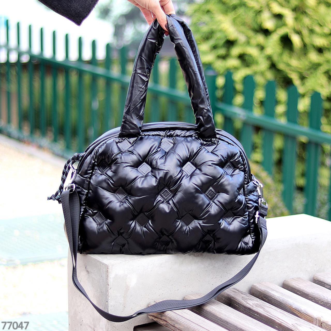 Легкая дутая женская черная текстильная тканевая сумка с ручками через плечо
