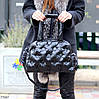 Легкая дутая женская черная текстильная тканевая сумка с ручками через плечо, фото 5