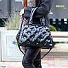 Легкая дутая женская черная текстильная тканевая сумка с ручками через плечо, фото 4
