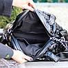 Легкая дутая женская черная текстильная тканевая сумка с ручками через плечо, фото 6