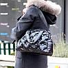 Легкая дутая женская черная текстильная тканевая сумка с ручками через плечо, фото 7