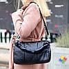 Містка чорна фактурна міська Сумка-дафл з ручками через плече, фото 6